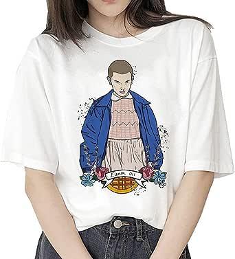 T-Shirt Stranger Things Fille, Tee Shirt Stranger Things Eleven Enfant Fille Femme Ringer T-Shirt Sport Été Manche Courte Shirt Baseball Hauts Tops Chemise Fan de TV Série
