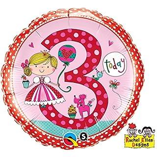 paduTec Zahlenballon Ballon Folienballon Luftballon - 3 Jahre Alter - Happy Birthday Geburtstag Mädchen - geeignet zur befüllung mit Luft oder Helium Gas - UNGEFÜLLT - zum selber füllen