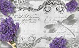 Tapeto Fototapete - Lavendel Blumen Libelle Vintage - Vlies 368 x 254 cm (Breite x Höhe) - Wandbild Jahrgang