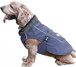 TFENG Reflektierend Hundejacke für Hunde, Wasserdicht Hundemantel mit Warm Pelzkragen, Weste Welpen Regenmantel, Größe S Bis 3XL