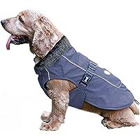 TFENG Reflektierend Hundejacke für Hunde, Wasserdicht Hundemantel mit Warm Pelzkragen, Weste Welpen Regenmantel, Größe S…