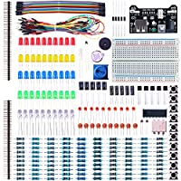 ELEGOO Electronic Fun Kit Bundle with Breadboard Cable Resistor, Capacitor, LED, Potentiometer (235 Items) for Arduino, Respberry Pi