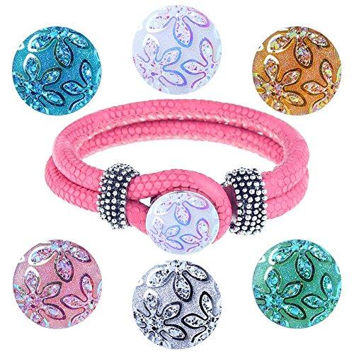 Soleebee Fare clic-pulsante Womens PU piccolo Set rosa braccialetto 6 pcs pulsanti tasti di tondo fiore Carving