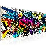 Bilder Graffiti Streetart Wandbild 200 x 80 cm - 5 Teilig Vlies - Leinwand Bild XXL Format Wandbilder Wohnzimmer Wohnung Deko Kunstdrucke Bunt - MADE IN GERMANY - Fertig zum Aufhängen 004555b