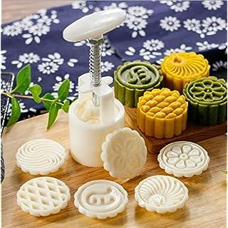 Arpoador Runde DIY Backwerkzeug, Mondkuchenform, Gebäckform, Keksform, mit 6 Mustern, Beige