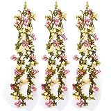 Künstliche Rose Blumen Efeugirlande Hängende Rebe für Hochzeit Party Garten Wanddekoration (2 Satz, champagner 2)