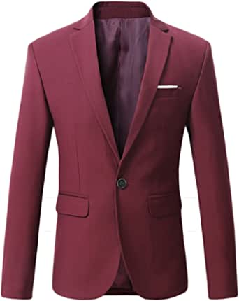Mirecoo Men's Premium Slim Fit Casual Blazer Business Jacket One Button Suits Coat