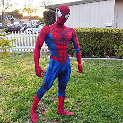 Spiderman Kostüm Muskel - PIAOL Muskel Spiderman Kostüm Cosplay Anime Siamese Performance Kostüm Halloween Kostüm Ball Movie Kleidung,Red-L