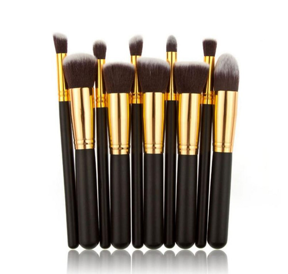 Hosaire 10 PCS cosméticos Cepillo de Maquillaje cepillos Set Foundation Powder Eyeshadow(Dorado)