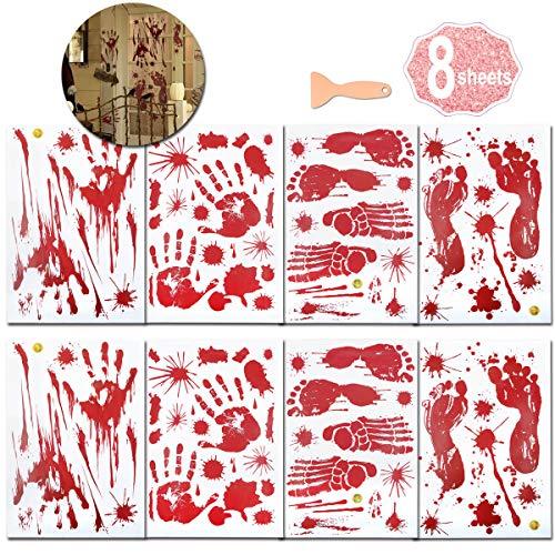 Halloween Blutige Hände Fensteraufkleber, (8 Blatt Halloween Sticker Aufkleber), Realistisch Wirkende Schaurig Blutige Sticker, Halloween Dekoration by AniSqui (Stil 1)