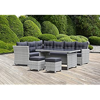Amazon.de: greemotion 129482 Rattan Lounge Set TOSCANA-Loungemöbel ...