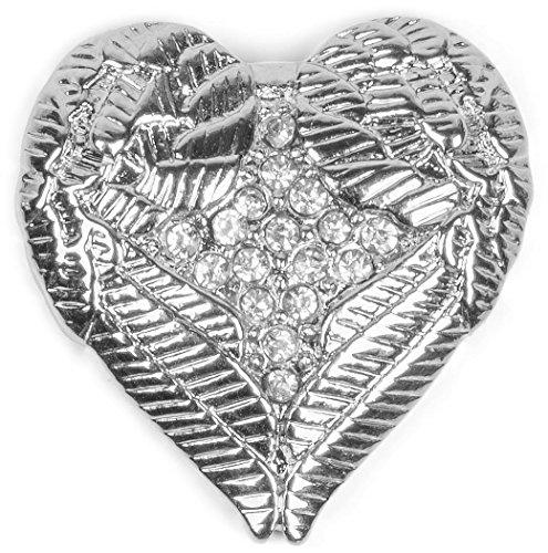 styleBREAKER Magnet Schmuck Anhänger Herz Flügel Design mit Strass für Kleidung, Schals, Tücher oder Ponchos, Brosche, Damen 05050044, Farbe:Silber