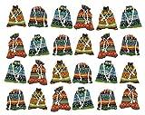 24 Stoff Säckchen handgemacht für Adventskalender und mehr ca. 9 x 13 cm klein 100% Baumwolle für Schmuck Verpackung / Gastgeschenke / Geschenk / Hochzeit - Design: Muster aus Indien & Ägypten