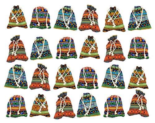 24 sacchetti in tessuto, fatti a mano per calendario dell'avvento e altro, ca. 9 x 13 cm, 100% cotone per imballaggio regali, gioielli, matrimoni - motivo India & Egitto
