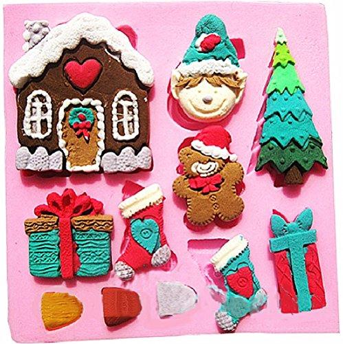 Inception pro infinite stampo in silicone per uso artigianale di casa - folletto - albero di natale - pacco regalo - calza natalizia - orsacchiotto di natale - 3 denti
