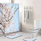 EMG Polyester-Faserbadezimmervorhangbadezimmermatten-Toilettensitzkissen 16 Stück Stellten Kreative Bunte Baum-Reihe Ein