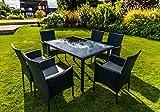 Kingfisher Black 7 Piece Rattan Effect Outdoor Garden Dining Furniture Set
