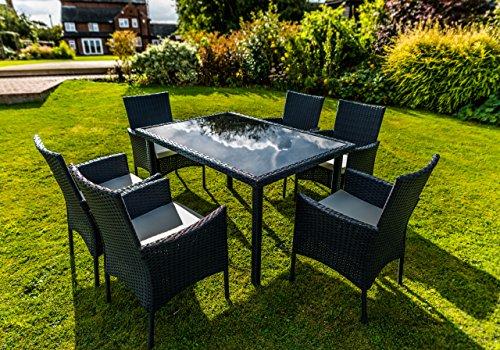 Kingfisher Black 7 Piece Rattan Effect Outdoor Garden Dining Furniture Set Rattan Furniture