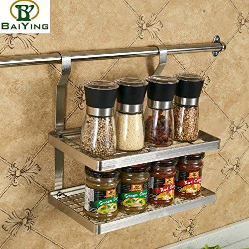 COLLECTOR Cucina multifunzione in acciaio inox a parete cucina storage rack rack doppia porta spezie gratuito appeso