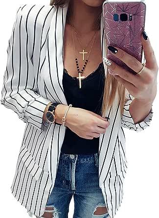 Mxssi Blazer Corto per Donna Slim Tailleur Cappotto a Maniche Lunghe Elegante Senza Chiusura Giacca da Abito Cardigan per Lavoro Occasione Formale S-XL