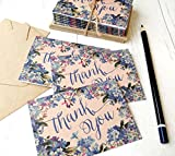 (8Stück) Mini Floral Blue Vintage braun recyceltem Hochzeit Rustikal Vergissmeinnicht Thank You Karten und Umschläge A7105mm x 74mm (8Stück) Aufstellkarten Hochzeit Party Grußkarte (Stationery, Note Karten)
