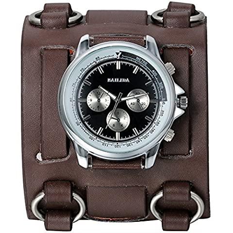 JewelryWe Hip-hop Gothic Leathernk Style Mens Wrist Watch 74MM Wide