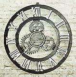 Retro Nostalgische Zahnrad-Wand-Taktgeber Kreative Woody Weinlese-hängende Uhr Klassische nachgemachte Eisen-Prozess Industrielle Art-Taktgeber-Wohnzimmer-Stab-Kaffee-Gold-Silber-Farbe (Durchmesser 50cm) ( Color : Silver , PATTERN : Roman Numbers )
