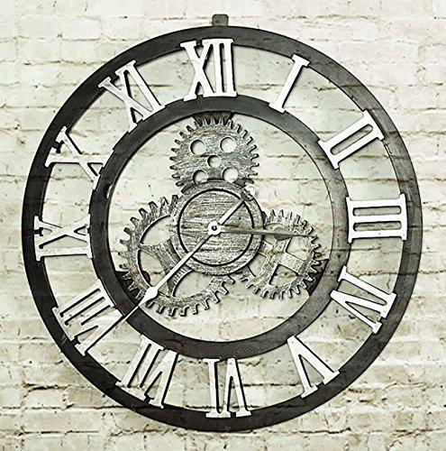 Retro orologio da parete ingranaggi nostalgico creative woody vintage appesa a orologeria classica imitazione ferro processo orologio industriale orologio soggiorno bar cafe oro argento colore (diametro 50cm) ( color : silver , pattern : roman numbers )