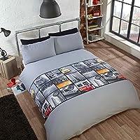 Just Contempo–Set copripiumino New York City, in poliestere/cotone, singolo, colore: grigio - Plain Fabric Quilt