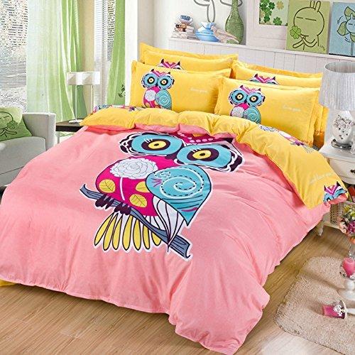 Sandyshow 2pc Eule Bettwäsche für Kinder Twin Mikrofaser Bettbezug Set, Full/Queen Size optional, baumwolle, blau, Full/Queen (Twin Für Mädchen Tween Bettwäsche)