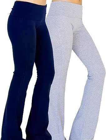 Foldover Solid Solid Pantaloni Yoga Bootleg Flare Donna