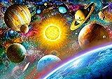 Puzzle 500 Teile - Planeten, Erde und Sonne - Zeichnung - Gemälde - Sonnensystem - Weltall - Welt / Saturn Mond Sterne - Galaxy - Galaxie - Planetensystem Milchstraße - All - Planet