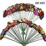 120 Pz Farfalle da Giardino Colorato Terrazza Ornamenti, Allazone 2 Taglia Terrazza Ornamenti su Bastoni per Yard Patio Lawn Outdoor Farfalle Decorazione