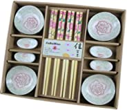 Wedding Business Gift Home Flatware Set Chopsticks/Holder/Irregular Dish 12PCS-Peony