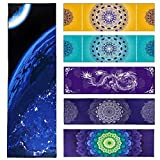 "Favobodinn Multipurpose Microfiber Towel Exclusive Design Perfect as Yoga Pilates Bikram Fitness Swimming Camping Travel Table Bath Beach Mat Towels (24""x72"") (Earth, 183X61CM)"