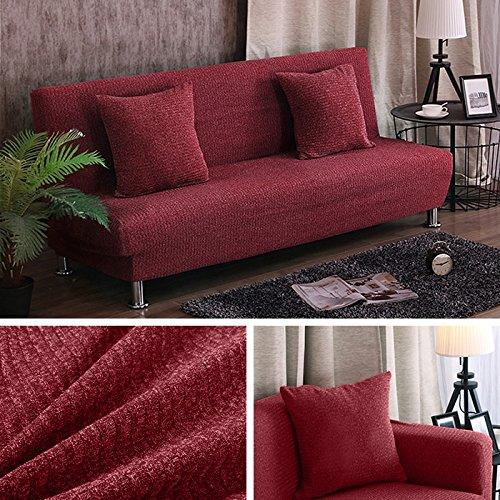 SSDLRSF Kissenbezug Melange stricken Sofa Bettdecke Hussen Stretch-Sitz Sofa deckt Big Elastic Couch Falten Armless Handtuch (120-190cm), Wein, 120-190cm