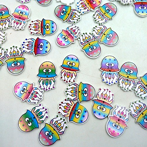 Phenovo 100 Colorful Jellyfish Wooden Buttons Two Holes Embellishment Craft DIY 31mm