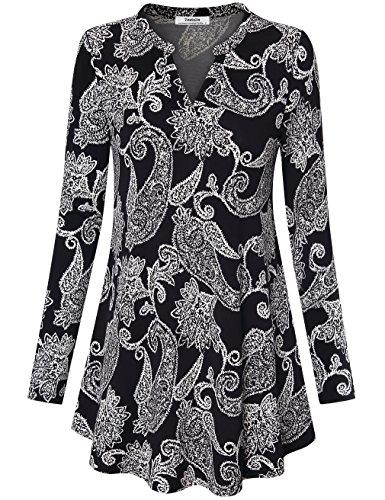 Bedruckt Tunika Top, Youtalia Damen V-Ausschnitt Vintage Paisley Druck Tops Langarm Gewellter Saum Freizeit Bluse Kleider für Leggings (Multicolor Schwarz,Größe XL)