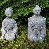 Steinfigur 2-Set Geisha Samurai frostfest Deko Japan Buddhismus Feng Shui Figur Garten