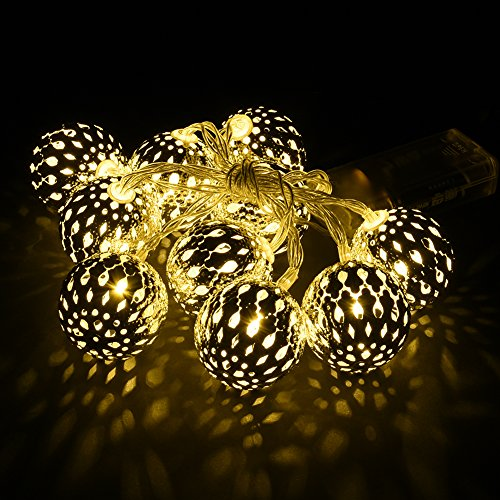 Batteriebetriebene Schnur beleuchtet im Freien 10LED, Marokkanische Globe-Leuchten f¨¹r Haus, Garten, Spazierweg, Partei-Hochzeit Dekoration Licht (Globe-string-lichter Im Freien)