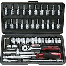 """KS Tools 918.0646 KS - Maletín de llaves de vaso y puntas (0,6 cm/0,25"""", 1,3 cm/0,5"""", 46 piezas)"""