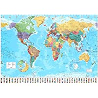 World Map - Timezones - Country Flags - Giant Poster - 100cm x 140cm