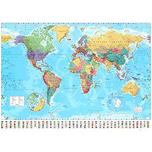 Large map of the world amazon world map timezones country flags giant poster 100cm x 140cm gumiabroncs Gallery