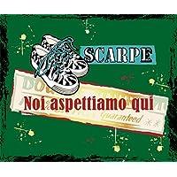 ZERBINO SCARPE NOI ASPETTIAMO QUI CM. 60x50 TAPPETO FELTROGOMMA ASCIUGA SPORCO