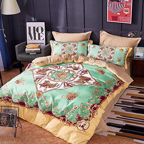 ZHAOCAI Herbst und Winter aktiv ökologischen Digitaldruck gewaschener Baumwolle vierteiliges Bett Pferd Ma 1,5 m-1,8 m -