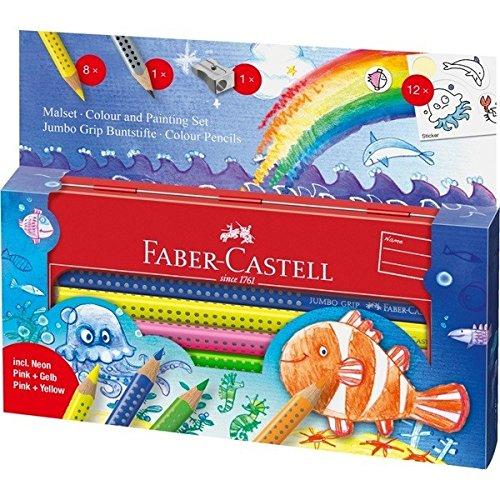 Faber-Castell 110908 - Malset Jumbo Grip Unterwasserwelt, im Metall-Etui