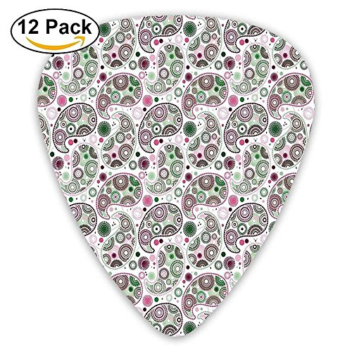 Geometric Modern Design With Circled Floral Details And Dots Guitar Picks 12/Pack Set
