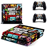 CAN® Ps4 Console Designer Protective Vinyl Skin Decal Cover for Sony Playstation 4 & Remote Dualshock 4 Wireless Controller Stickers - GTA V 5 Grand Theft Auto V by CAN