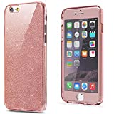 NWNK13® Slim Glitter Sparkly Shockproof 360° Protective Front and Back Full Body Tpu Silicon Gel Case Cover with Branded Card Organiser (iPhone 6 / 6S (4.7), Glitter Rose Gold)