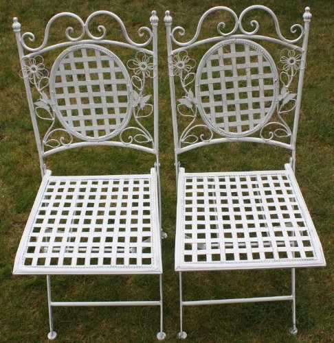 Stuhl Metall (Maribelle - Gartenmöbel-Set - 2 eckige Stühle - Florales Design - Metall - Weiß mit Antik-Finish)